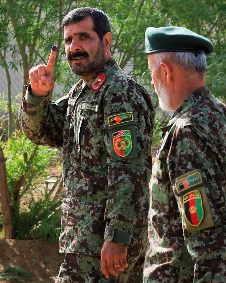 ANA 215th Corps commander Maj. Gen. Sayed Malouk after voting in Afghanistan April 5